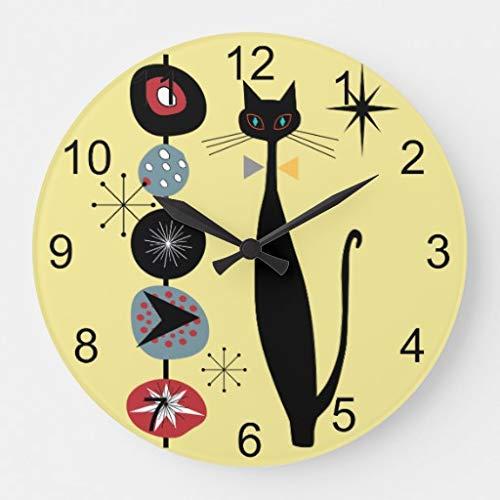 FRTKUU Retro Atomic Era Mid Century Modern Cool Cat Decorative Wooden Wall Clock - 12 Inch