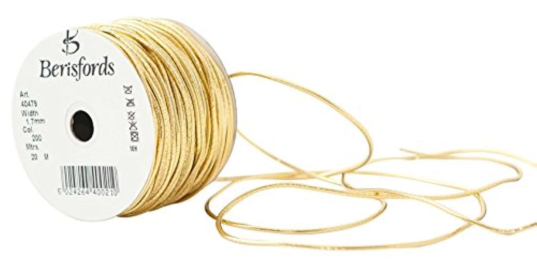 Berisfords R40479/200 | Gold Metallic Round Elastic 1.7mm x 20m