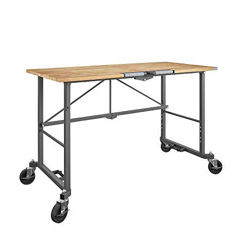 Cosco 66760DKG1E Smartfold Portable Folding, Hardwood Top (350 Pound Weight Capacity, Dark Gray) Workbench Desk, Work, Heath Pine
