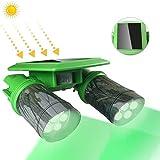 TRAIL WATCHER Solar Deer Feeder Light Hog Hunting Green Light 360°Rotation IP65 with PIR Motion Sensor Waterproof for Bucket Game Feeder Cage