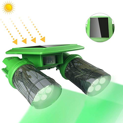 TRAIL WATCHER Solar Deer Feeder Light Hog Hunting Green Light 360°Rotation IP65 with PIR Motion Sensor Waterproof for Bucket Game Feeder Cage