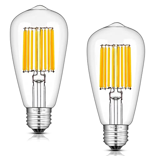 ST64 12W LED Ampoule de Edison Antique à Filament,3000K Blanc Doux 1000 Lumens,100W Ampoule à incandescence équivalent,Base à Vis E27,Non Gradable,Lot de 2