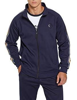 Men Outdoor 2 Piece Jacket Pants Track Suit Sport Sweat Suit Set Tracksuit Slim Fit Long Sleeve Zip-up Joggers Set Blue-S