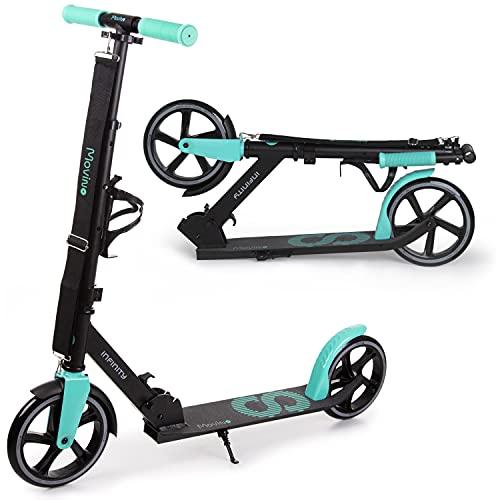 Movino Infinity Scooter | City Roller | mit klappbar und höhenverstellbar | Flaschenhalter | 200mm Räder |mit ABEC 7 Kugellagern| für Kinder & Erwachsene | Transportgurt | Gewicht 3,7 kg
