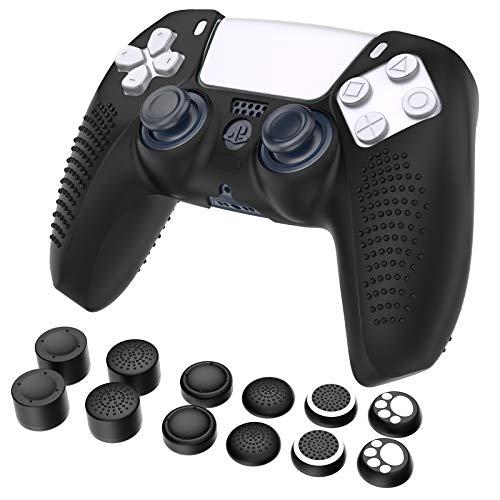 Funda compatible para Mando PS5, GeeRic 13pcs Accesorios de Suave silicona fundas compatible para PS5 y Agarres para el Pulgar Compatible con Playstation5,Antideslizante,A Prueba de Polvo,Negro