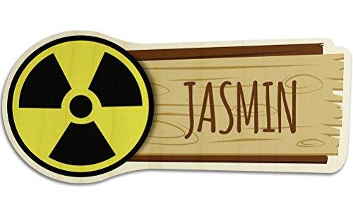 printplanet Türschild aus Holz mit Namen Jasmin - Motiv Radioaktiv - Namensschild, Holzschild, Kinderzimmer-Schild
