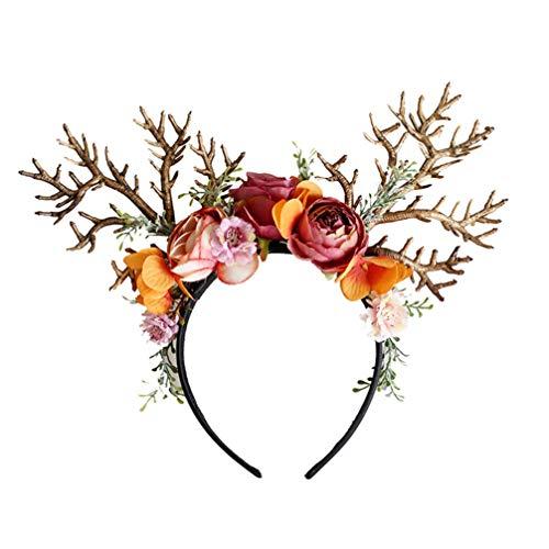 Amosfun Rentier Geweih Haarreif mit Blumen Weihnachten Haarschmuck Elchgeweih Kopfschmuck Weihnachtsmütze Elch Kopfbedeckung Kinder Erwachsene Party Foto Requisiten Kostüm Zubehör