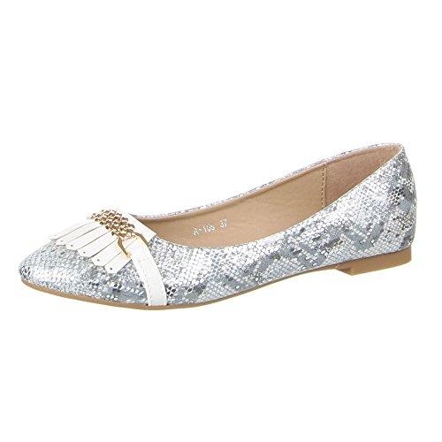 Ital-Design Damen Schuhe, A-105, Ballerinas, Moderne Blockabsatz Halbschuhe, Synthetik in hochwertiger Lederoptik und Lacklederoptik, Weiß, Gr 40