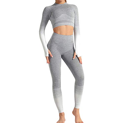 Conjunto Tops Yoga Seamless Gradient Yoga Top de Manga Larga Pantalon Deportivo Leggings Sin Costuras Mujer Alta Cintura Elásticos Fitness para Mujeres Gym Running Yoga...