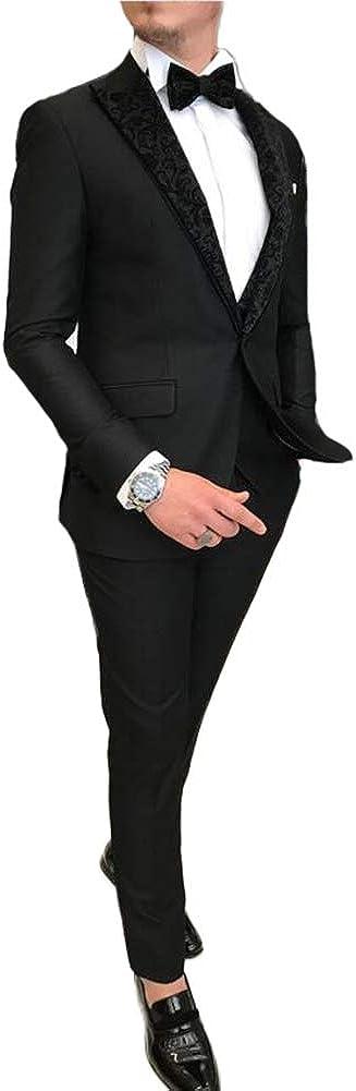 Men's Peak Lapel Business 3 Pieces Suit Wedding Groom Tuxedos
