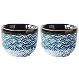 Tazza in ceramica durevole con motivo a mare elegante 2 pezzi Tazza in ceramica giapponese