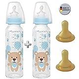 NIP Glas Flasche 250 ml // 2er Set // Glas-Babyflasche 250 ml // inkl. 4 Trinksauger Größe M (Silikon + Kautschuk/Milch / ab 0 Monate)