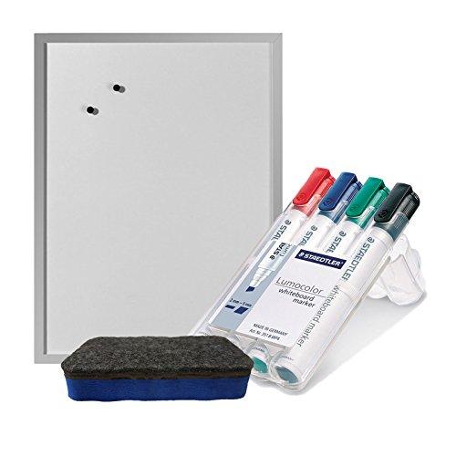 Staedtler 351 B WP4 Board-Marker Lumocolor whiteboard marker, Staedtler Box mit 4 Farben inkl. blauem Löscher & Herlitz Whiteboard 40x60cm(Whiteboardmarker + blauem Löscher + Whiteboard)