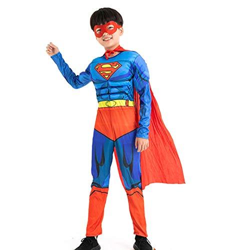 Kinderkostüme - Junge Cosplay Superman Jumpsuits und Umhänge for die Halloween-Party sind geeignet for Kinder mit Einer Höhe von 95-130cm (Size : M:110-120cm)