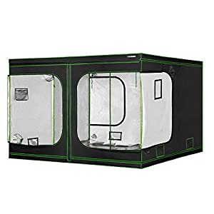 "VIVOSUN 120""x120""x80"" Mylar Hydroponic Grow Tent with Observation Window and Floor Tray for Indoor Plant Growing 10'x10'"
