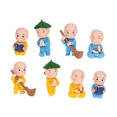 Vosarea 8Pcs Monk Miniatura jardín de Hadas Paisaje Ornamento Decorativo artesanía bondai