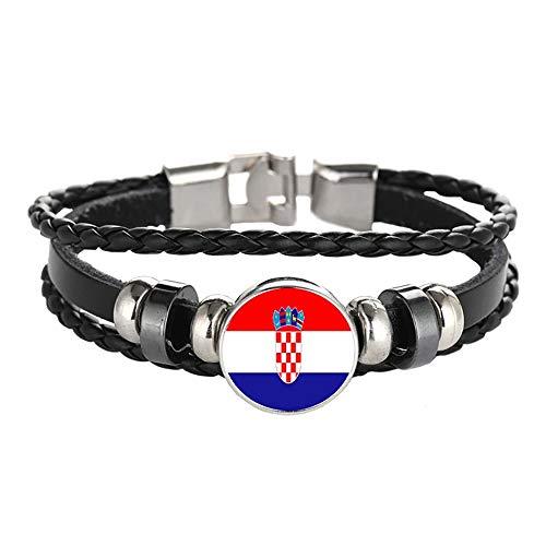 Kroatien Flagge geflochtenes Armband Leder Kette Kristall Armband Souvenir, Mode handgefertigte Armband für Mann & Frau besonderes Tagesgeschenk