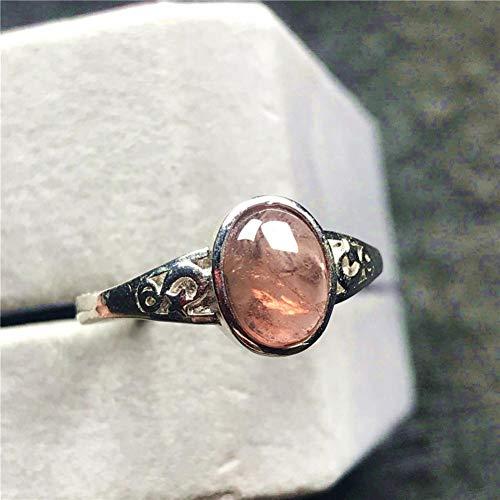 CTDMMJ Anillo de Cuarzo de 10x8 mm Joyas para Mujer Señora Hombre Cuentas de Plata de Cristal Rosa Anillo de tamaño Ajustable