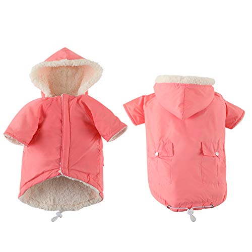 EMUST Dog Coat for Winter, Small Dog Coats for Winter, Dog Clothes for Small Dogs Boy with Fleece Lined, Cozy French Bulldog Clothes for Dogs, Pink