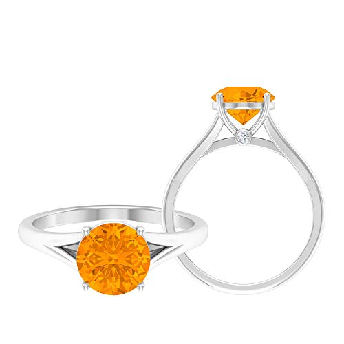Anillo solitario, anillo de promesa de oro, piedras preciosas redondas de 2,53 quilates, anillo de aguamarina D-VSSI Moissanite 8 mm, anillo de boda catedral, 14K Oro blanco, aguamarina, Size:US 70