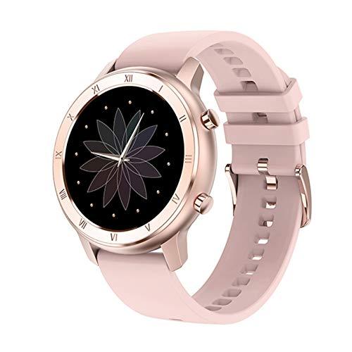 Reloj inteligente de tacto completo para mujer, IP68, pulsera impermeable, ECG, monitor de ritmo cardíaco, monitoreo del sueño, reloj inteligente deportivo para mujer (color rosa de silicio)