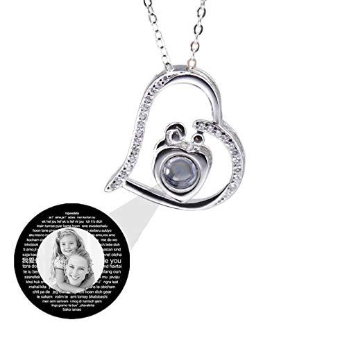 Collar Personalizado Collar De Proyección Personalizado Collar De Mamá Te Amo Collar 100 Idiomas Collar 925 Día De La Madre Para Mamá(Plata Blanco y Negro 16)