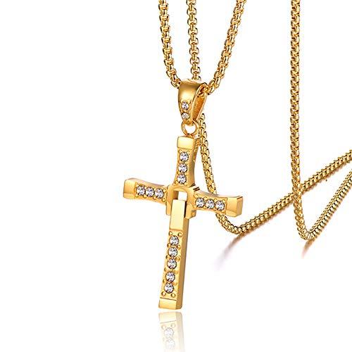 Moligin Película de Oro Joyería Cruzada Colgante Colgante Collar de Cadena de Acero Inoxidable Simple Collar de la Cruz de la fe Pulida Collar de la joyería de la joyería para Hombres y Mujeres 1pc