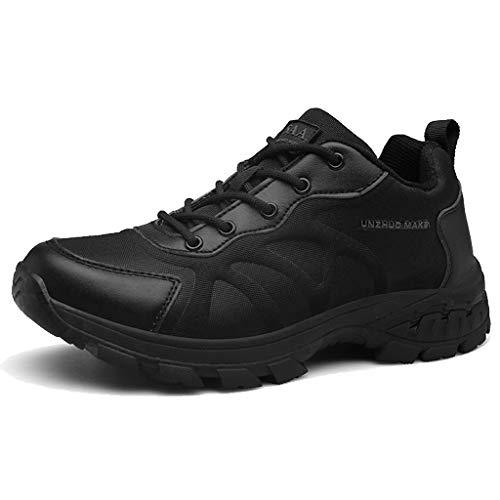 ZZMFC Botas Militares tácticas para Hombres Zapatos Militares con Cordones de Cuero Transpirable de la Selva Botas de montaña Plus Size Negro/marrón,Black-46