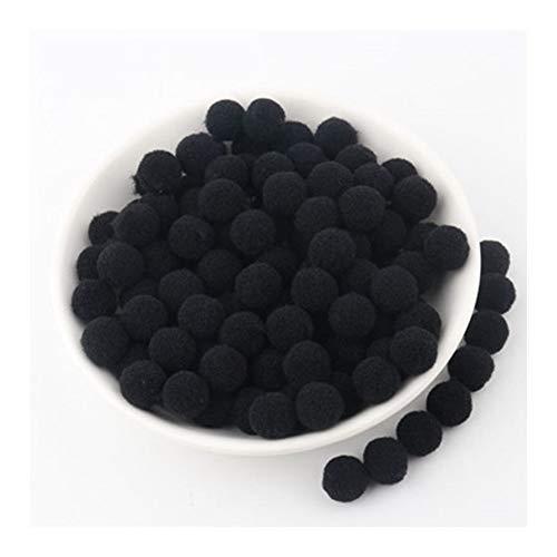 JIAHUI Pompón negro mini pompón suave esponjoso pompón redondo bolas de pompón para niños ropa artesanal (color: 15 mm, tamaño: 100 piezas)