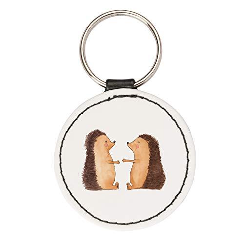 Mr. & Mrs. Panda Taschenanhänger, Schlüsselband, Rund Schlüsselanhänger Igel Liebe - Farbe Weiß