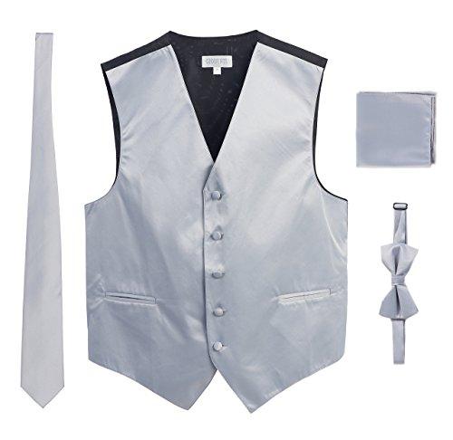 Men's Formal 4pc Satin Vest Necktie Bowtie and Pocket Square, Silver, X Small