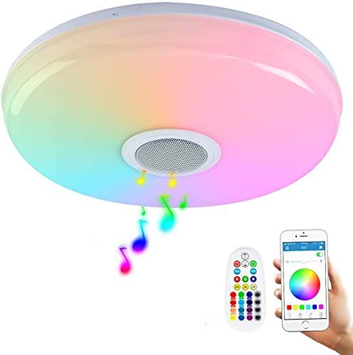 Plafoniera LED RGBW Lámpara de Techo con Altavoz Bluetooth 24W Equivalente a...