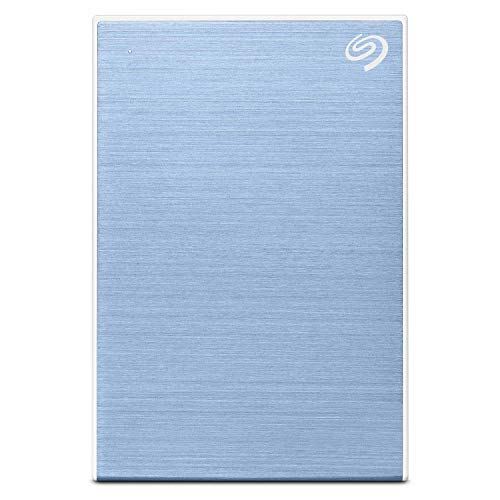 Seagate Backup Plus Slim 2TB External HDD – USB 3.0 for Windows and Mac, 3 yr Data Recovery Services, Portable Hard Drive – Light Blue with 4 Months Adobe CC Photography (STHN2000402)