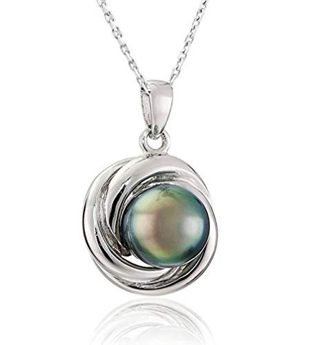 CHAULRI Love Knot Tahitian Black Pearl Pendant Necklace 18K Gold Plated 925 Sterling Silver- Birthday Anniversary Jewelry Gifts for Women Wife Mom Daughter