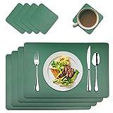 MAOOY - Set di 4 tovagliette all'americana in similpelle, lavabili con 4 sottobicchieri quadrati, 45 x 30 cm, per cucina, famiglia, verde scuro