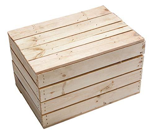 Kontorei Schlichte Holzkiste Natur mit praktischem Deckel, schön zur Aufbewahrung oder als Heimwerkertruhe, neu, 48x36x28cm - 3