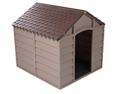 Ondis24 Arkadien Hundehütte braun aus Kunststoff für drinnen & draußen ca. 71 x 71 x 68 (H) cm