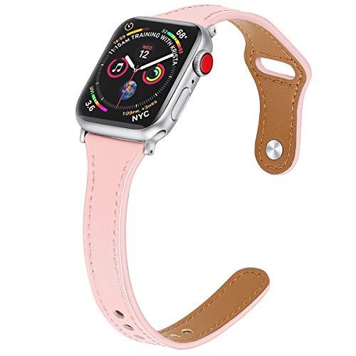 Correa de cuero premium compatible con iWatch Series 6, 5, 4, 3, 2, 1, correa de piel auténtica, compatible con Apple Watch de 38 mm, 40 mm, 42 mm, 44 mm (38/40 mm, rosa)