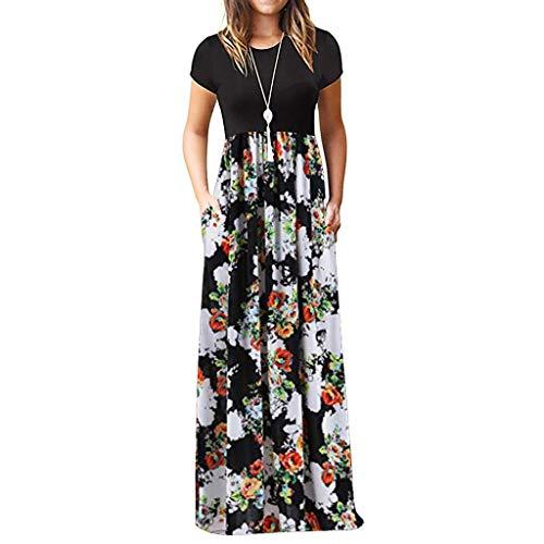 TIFIY Sommerkleid Damen,Elegante Casual Ärmel Oansatz Druck Maxi Blumen Langes Kleid Boho Strand Partykleider Hemdkleider (A_ k,XL