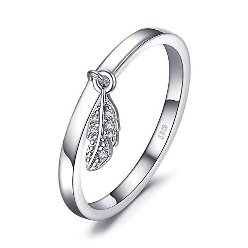 necklace Ladies fashion Silver Dangle leaf charm feather ring, ring size Hoisting (Size : 61 * 19.4mm)