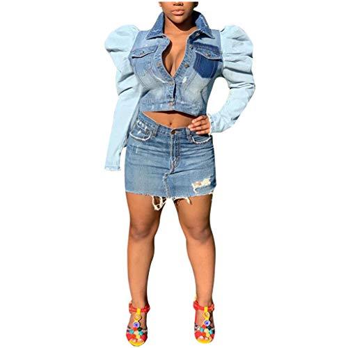 WFRAU Damen Luftpolsterfolie Jeansjacke Taste runter Langarm Kurzarm Jacke Einfarbig Revers Mantel Slim Fit Mode Winter Herbst Oberbekleidung