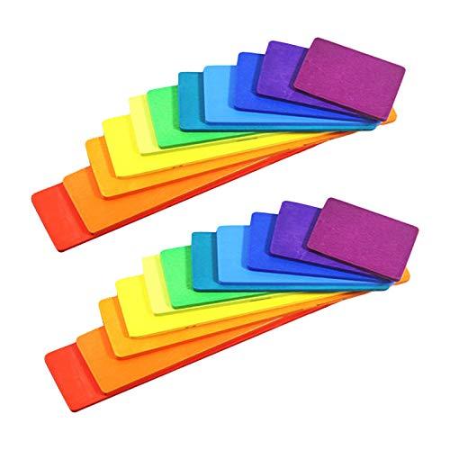 Colcolo 22 Paquetes de Tablas de Bloques de Construcción de Arcoíris de Madera Montessori