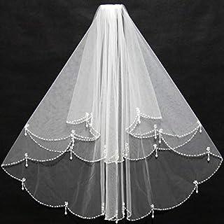 HXSD Elegant Short Ivory Bridal Veils Beading Edge Ruffles with Insert Comb Cheap for Wedding Bride Wear (Color : Ivory)