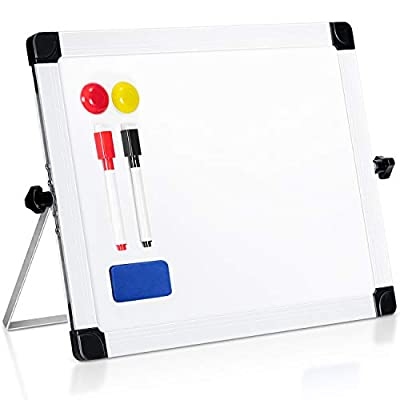 "ARCOBIS 14"" x 11"" Dry Erase White Board Easel?Portable Magnetic Double-Sided White Board with Stand for Classroom Home Office"