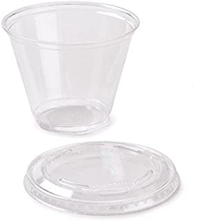 50 Count Plastic CLEAR 9 oz Squat Cup and Non-vented Flat Lid, Parfait Cup w/ Signature Party Picks