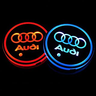 JDclubs 2PCS LED Cup Holder Mat Pad Coaster with USB Rechargeable Interior Decoration Light (fit Audi)