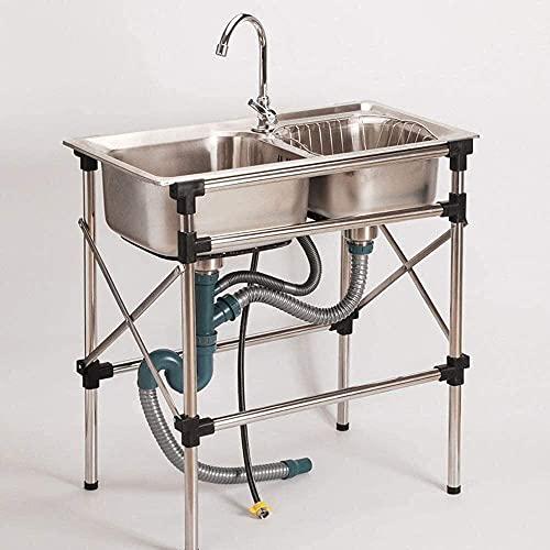 Fregaderos comerciales, Fregadero de cocina independiente con grifo y dos lavabos, lavabo de acero inoxidable 304 de acero inoxidable, lavabo de servicios públicos para garaje Restaurante de lavanderí