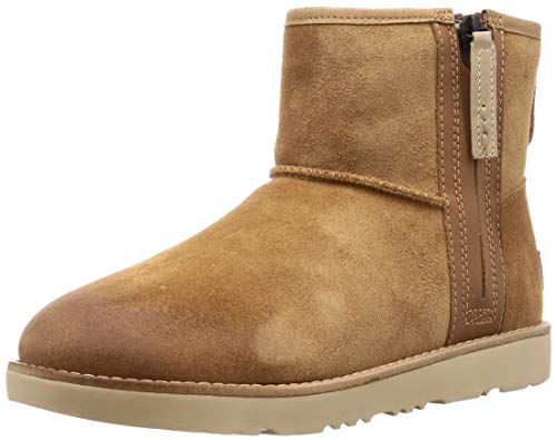 UGG Mens Classic Mini Zip Waterproof Rain Boot, Chestnut, Size 9