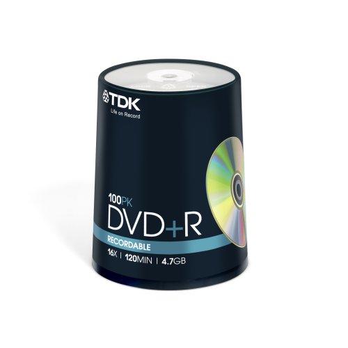 TDK T19504 16x DVD+R 100 Piece Cakebox