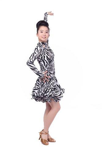Colorfulworldstore Reguläres Mädchen/Frauen Turnierkleid für Lateinamerikanische Tänze-Cha cha cha Latin Rumba Samba Kleid-Langärmeliges tailliertes schwingendes Kleid (Mädchen-XXL-135cm Höhe, gestreift)